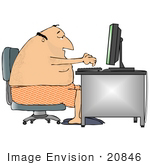 #20846 Man In Boxers Using A Computer At A Desk Clipart