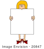 #20847 Blond Woman Holding A Blank Sign Clipart