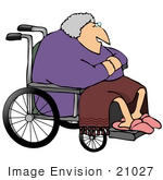 #21027 Senior Woman In A Wheelchair People Clipart