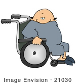 #21030 Bald Senior Man Sitting In A Wheelchair People Clipart