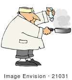 #21031 Male Chef Salting Food In A Frying Pan People Clipart