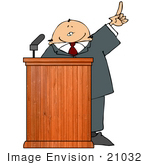 #21032 Man In A Suit At A Podium Giving A Passionate Public Speech People Clipart