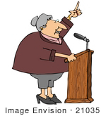 #21035 Proud Female Politician Gesturing With Her Hand While Giving A Public Speech People Clipart