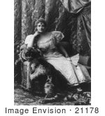 #21178 Stock Photography of Lillian Russell Holding a Hand Fan and Sitting on a Tiger Skin Over a Chair by JVPD
