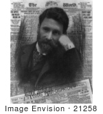 #21258 Stock Photography Of Joseph Pulitzer As A Portrait Over A Newspaper