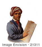 #21311 Stock Photography Of Sequoyah Holding The Cherokee Alphabet
