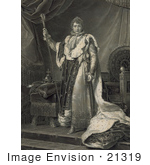 #21319 Stock Photography Of Napoleon I Of France In Robes Holding A Staff And Standing In Font Of A Throne