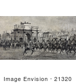 #21320 Stock Photography Of Napoleon I On Horseback With Cavalry Troops By The Arc De Triompe Du Carrousel