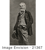 #21367 Historical Stock Photography Of Walt Whitman With One Hand In His Pocket The Other Holding A Hat