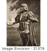 #21379 Historical Stock Photography Of Sarah Bernhardt As Hamlet By William Shakespeare Holding A Skull