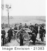 #21383 Historical Stock Photography Of William T Sherman Standing With Soldiers In Atlanta Georgia