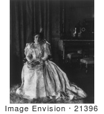 #21396 Stock Photography of Ida Saxton McKinley, First Lady and Wife of William McKinley, Sitting in an Elegant Gown by JVPD