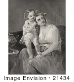 #21434 Historical Stock Photography Of A Happy Little Girl Standing In Her Mom'S Lap And Putting Flowers In Her Hair