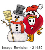 #21485 Clip Art Graphic Of A Red Love Heart Cartoon Character With A Snowman On Christmas