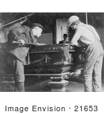 #21653 Stock Photography of Two Little Boys Playing a Game of Pool in 1910 by JVPD