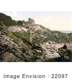 #22097 Stock Photography Of A Man On A Beach Rock Looking At The Rufus Castle Ruins Church Ope Cove Isle Of Portland Dorset England