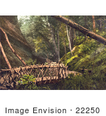 #22250 Historical Stock Photography Of A Wooden Bridge And Path In Shanklin Isle Of Wight England Uk
