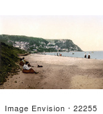 #22255 Historical Stock Photography Of People On The Beach In Runswick Whitby North Yorkshire England Uk