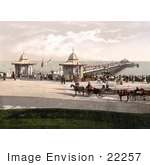 #22257 Historical Stock Photography Of People And Carriages At The Worthing Pier In Worthing West Sussex England Uk