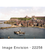 #22258 Historical Stock Photography Of A Steamboat In The Harbor At Whitby North Yorkshire England Uk