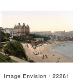 #22261 Historical Stock Photography Of The Beach In Front Of The Grand Hotel In Scarborough North Yorkshire England Uk