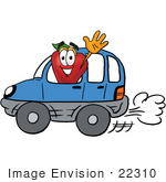 #22310 Clip Art Graphic Of A Red Apple Cartoon Character Driving A Blue Car And Waving