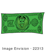 #22313 Clip Art Graphic Of A Red Apple Cartoon Character On A Dollar Bill