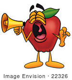 #22326 Clip Art Graphic Of A Red Apple Cartoon Character Screaming Into A Megaphone