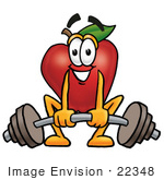#22348 Clip Art Graphic Of A Red Apple Cartoon Character Lifting A Heavy Barbell