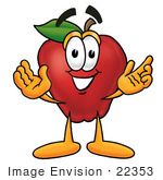 #22353 Clip Art Graphic Of A Red Apple Cartoon Character With Welcoming Open Arms