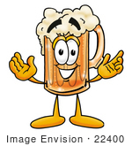 #22400 Clip Art Graphic Of A Frothy Mug Of Beer Or Soda Cartoon Character With Welcoming Open Arms
