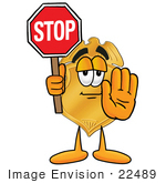 #22489 Clip Art Graphic Of A Gold Law Enforcement Police Badge Cartoon Character Holding A Stop Sign