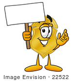 #22522 Clip Art Graphic Of A Gold Law Enforcement Police Badge Cartoon Character Holding A Blank Sign