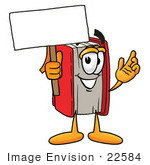 #22584 Clip Art Graphic Of A Book Cartoon Character Holding A Blank Sign