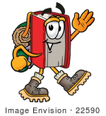 #22590 Clip Art Graphic Of A Book Cartoon Character Hiking And Carrying A Backpack