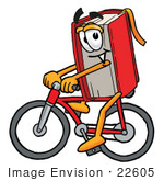 #22605 Clip Art Graphic of a Book Cartoon Character Riding a Bicycle by toons4biz