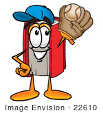 #22610 Clip Art Graphic Of A Book Cartoon Character Catching A Baseball With A Glove