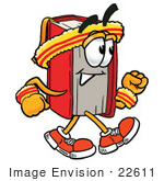 #22611 Clip Art Graphic of a Book Cartoon Character Speed Walking or Jogging by toons4biz