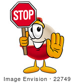 #22749 Clip Art Graphic Of A Fishing Bobber Cartoon Character Holding A Stop Sign