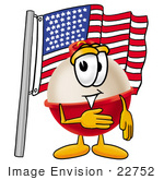 #22752 Clip Art Graphic Of A Fishing Bobber Cartoon Character Pledging Allegiance To An American Flag