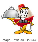 #22754 Clip Art Graphic Of A Fishing Bobber Cartoon Character Dressed As A Waiter And Holding A Serving Platter