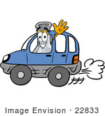 #22833 Clip Art Graphic Of A Laboratory Flask Beaker Cartoon Character Driving A Blue Car And Waving