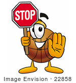 #22858 Clip Art Graphic Of A Basketball Cartoon Character Holding A Stop Sign