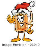 #23010 Clip Art Graphic Of A Frothy Mug Of Beer Or Soda Cartoon Character Wearing A Santa Hat And Waving