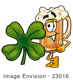 #23016 Clip Art Graphic Of A Frothy Mug Of Beer Or Soda Cartoon Character With A Green Four Leaf Clover On St Paddy'S Or St Patricks Day