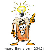 #23021 Clip Art Graphic Of A Frothy Mug Of Beer Or Soda Cartoon Character With A Bright Idea