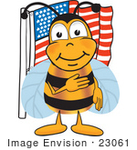#23061 Clip art Graphic of a Honey Bee Cartoon Character Pledging Allegiance to an American Flag by toons4biz