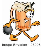 #23098 Clip Art Graphic Of A Frothy Mug Of Beer Or Soda Cartoon Character Holding A Bowling Ball