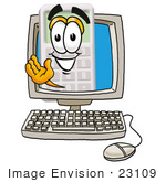 #23109 Clip Art Graphic Of A Calculator Cartoon Character Waving From Inside A Computer Screen