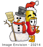 #23214 Clip Art Graphic Of A Red And Yellow Pill Capsule Cartoon Character With A Snowman On Christmas